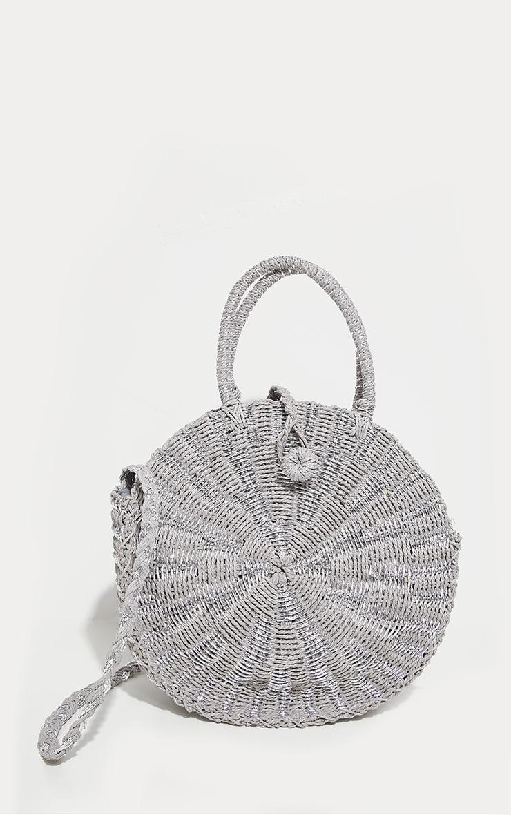 Silver Straw Round Cross Body Bag 3