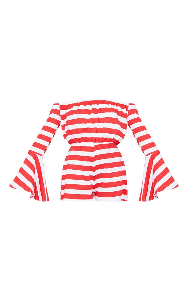 Red Striped Bardot Playsuit 2