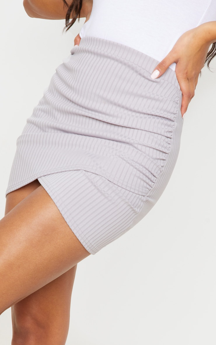 Grey Ribbed Ruched Wrap Mini Skirt 5