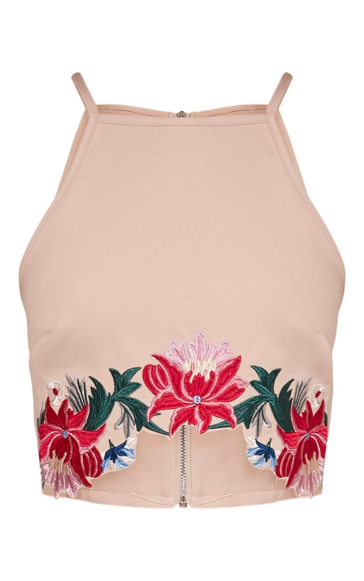 Montana Nude Embroidered Halterneck Crop Top 3
