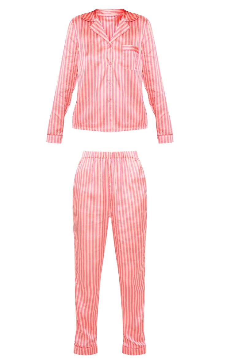 Pink Long Striped Satin Pyjama Set 3