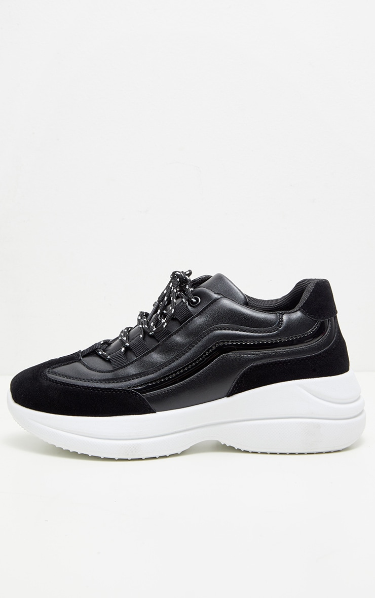 Black Contrast Lace Chunky Hiker Trainer 4