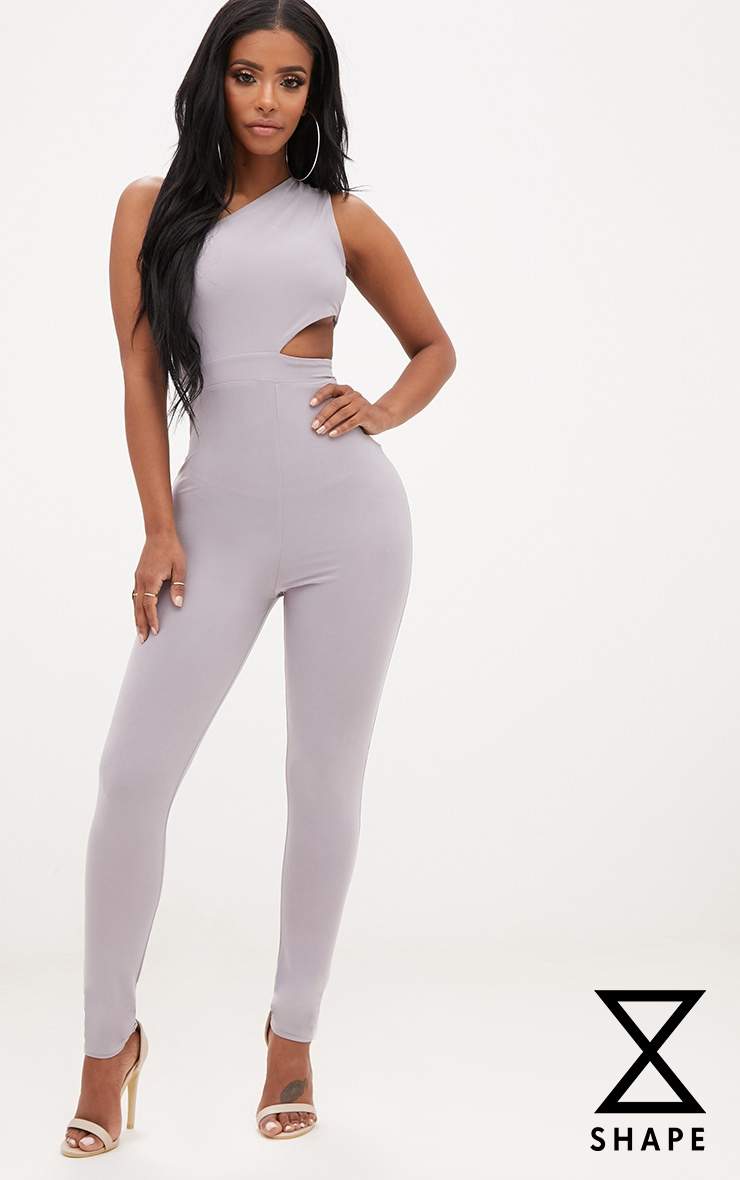 Shape Ice Grey One Shoulder Cut Out Jumpsuit 1