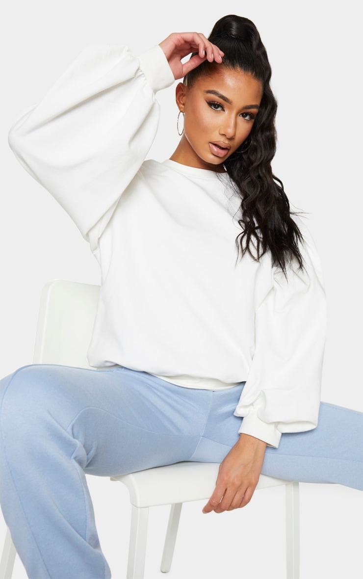 Cream Oversized Sleeve Sweatshirt 4