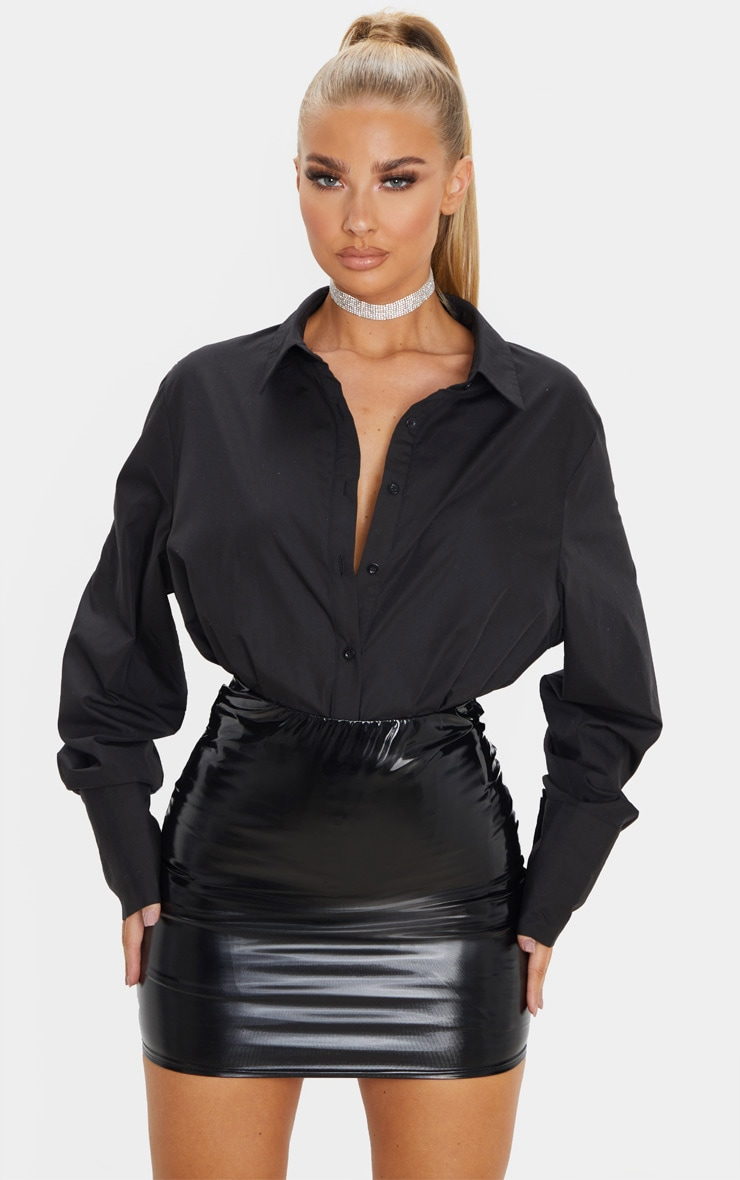 Black Vinyl Bodycon Mini Skirt 5