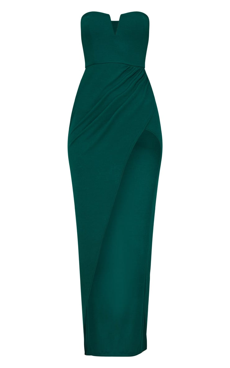 Emerald Green Bandeau V Bar Wrap Detail Maxi Dress 3