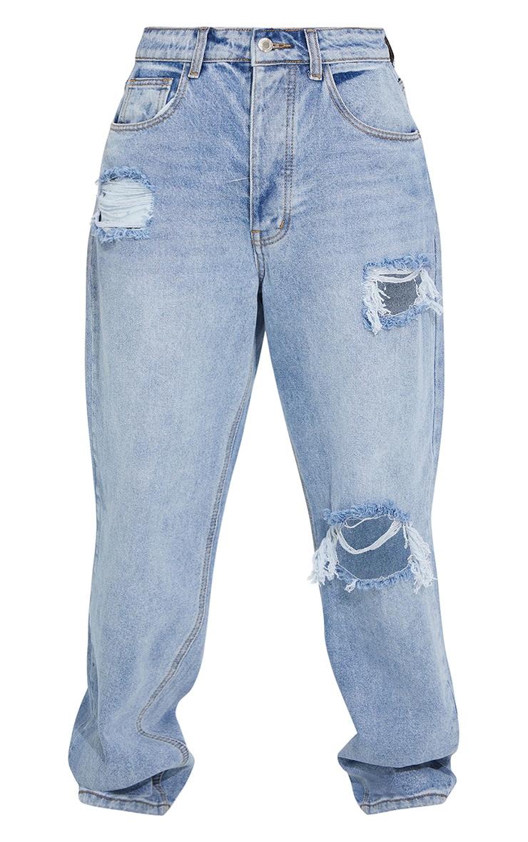 PRETTYLITTLETHING Light Blue Wash Open Knee Boyfriend Jeans 5