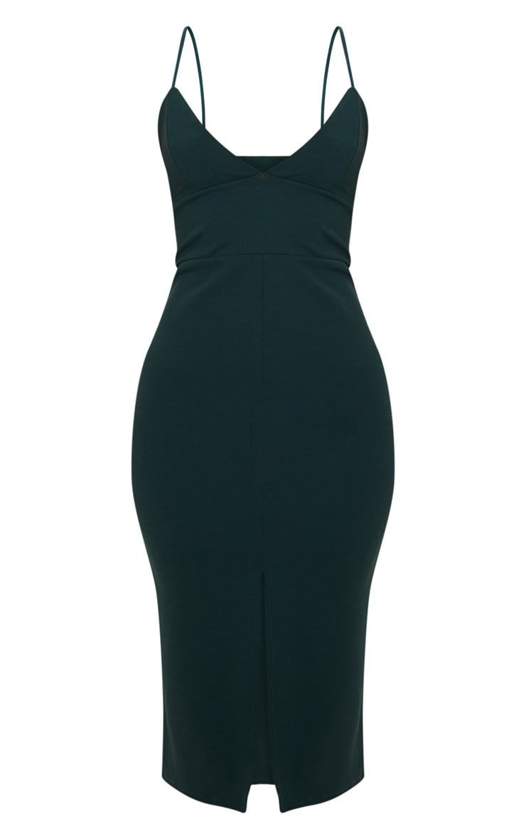 Emerald Green Strappy Plunge Midi Dress 3
