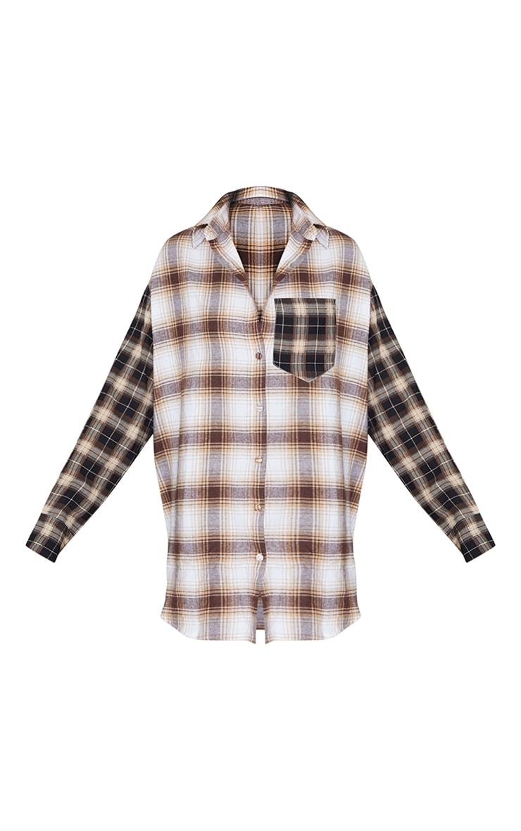Beige Contrast Check Shirt Dress 5