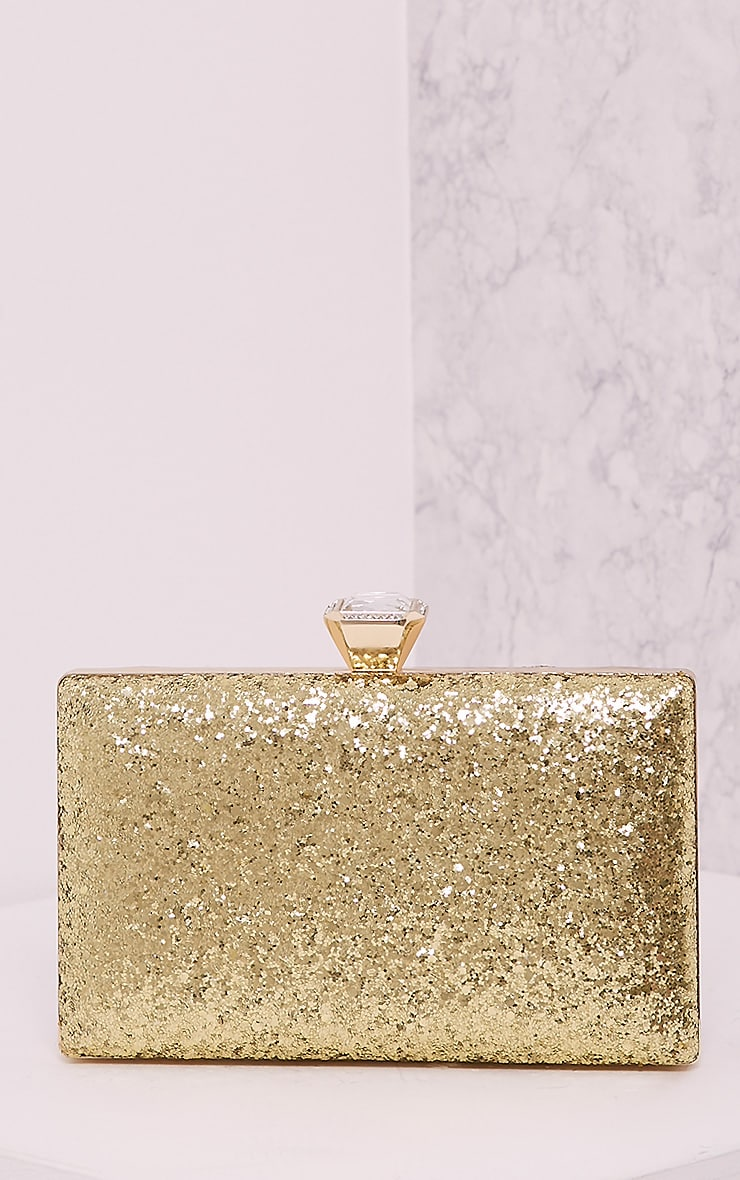 Dinnie Gold Glitter Box Clutch Bag 1