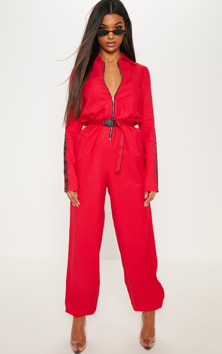 Red Utility Belted Jumpsuit 4