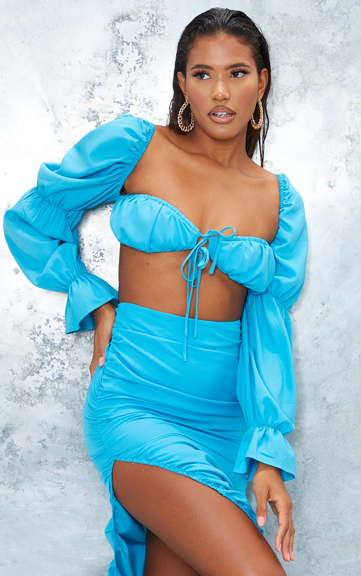 Bright Blue Woven Cinched Puff Long Sleeve Tie Front Bralet 1