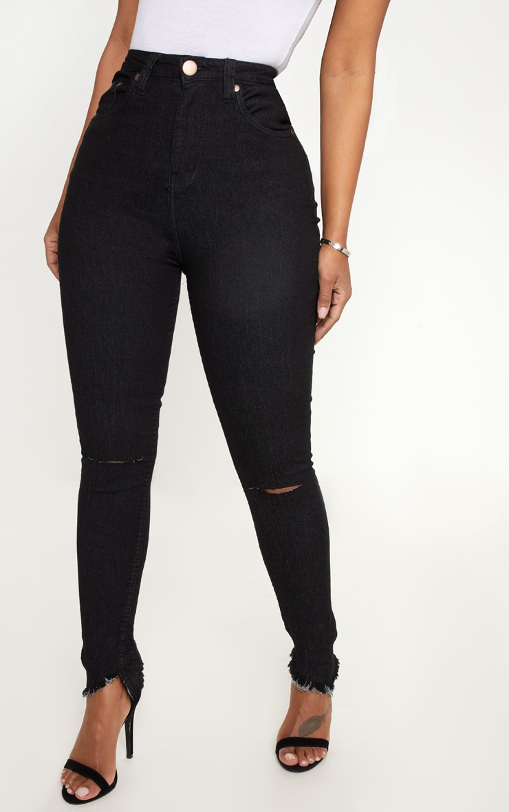 Shape Black Distressed High Waisted Skinny Jeans 2