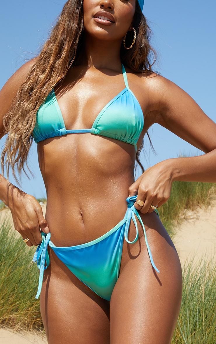 Turquoise Ombre Mini Tie Side Bikini Bottoms 1