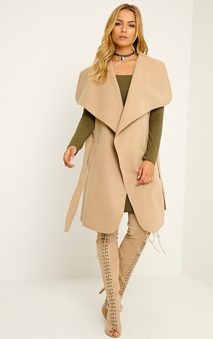 Valerie Camel Sleeveless Waterfall Coat 1