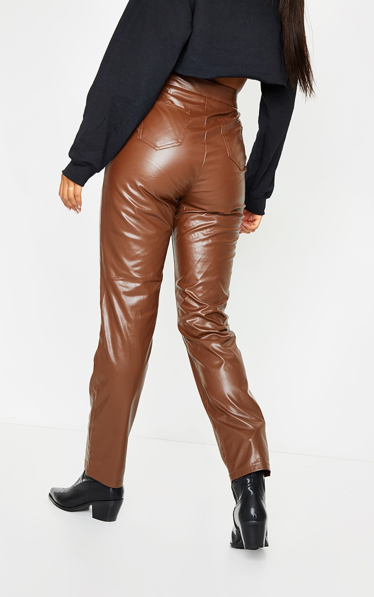 Chocolate Faux Leather Pintuck Detail Straight Leg Trousers 3