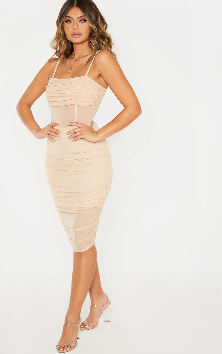 Stone Strappy Mesh Insert Ruched Midi Dress 1
