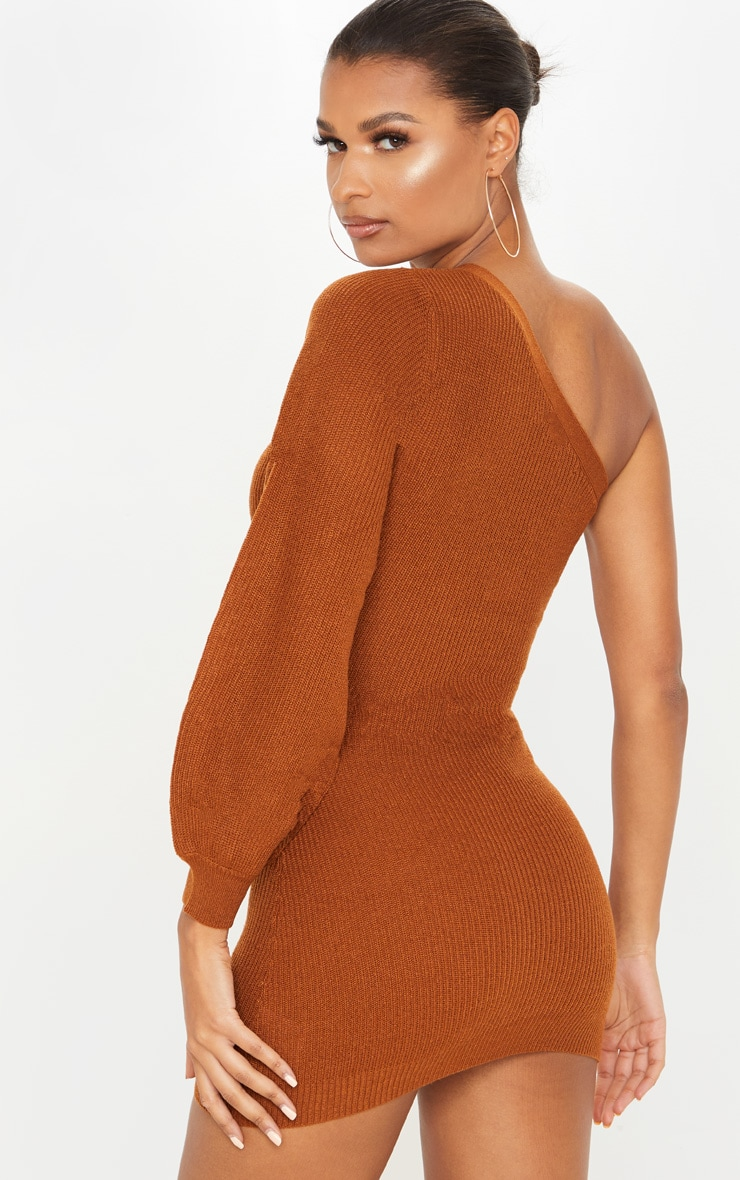 Brown Knitted One Shoulder Bodycon Dress 3