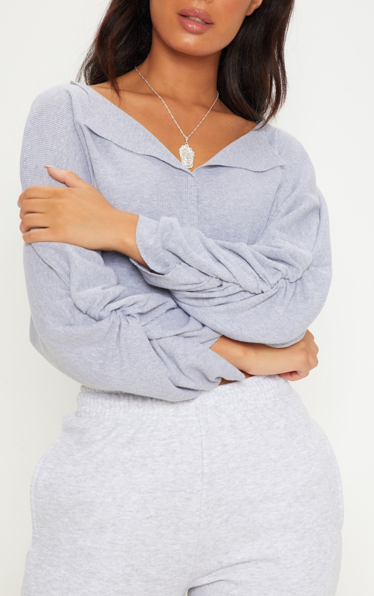 Grey Ribbed Ruched Sleeve Sweater 5