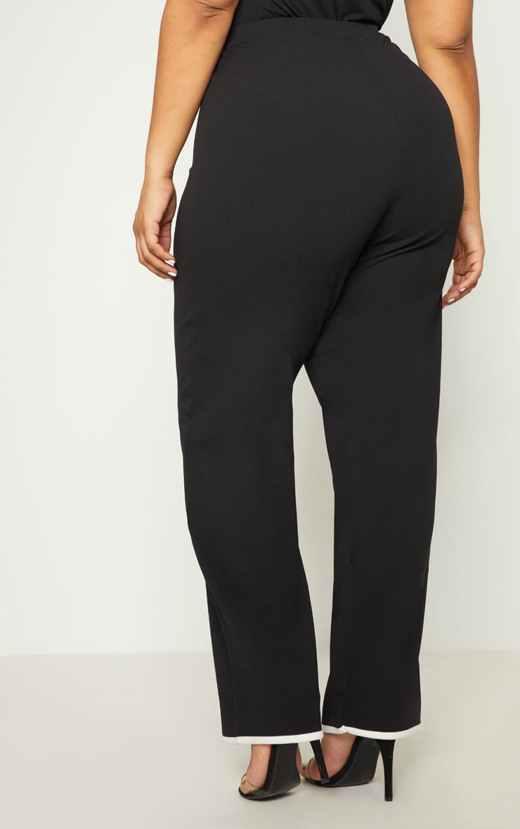 Plus Black Contrast Wide Leg Trousers 4