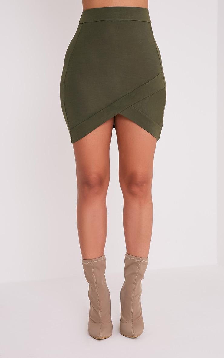 Basic Khaki Asymmetric Mini Skirt 2