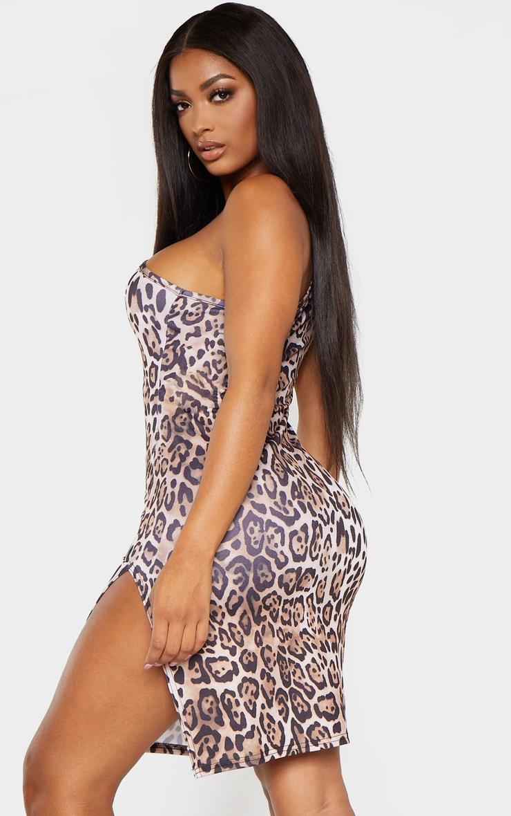 Shape Brown Leopard Print Sleeveless One Shoulder Split Bodycon Dress 2
