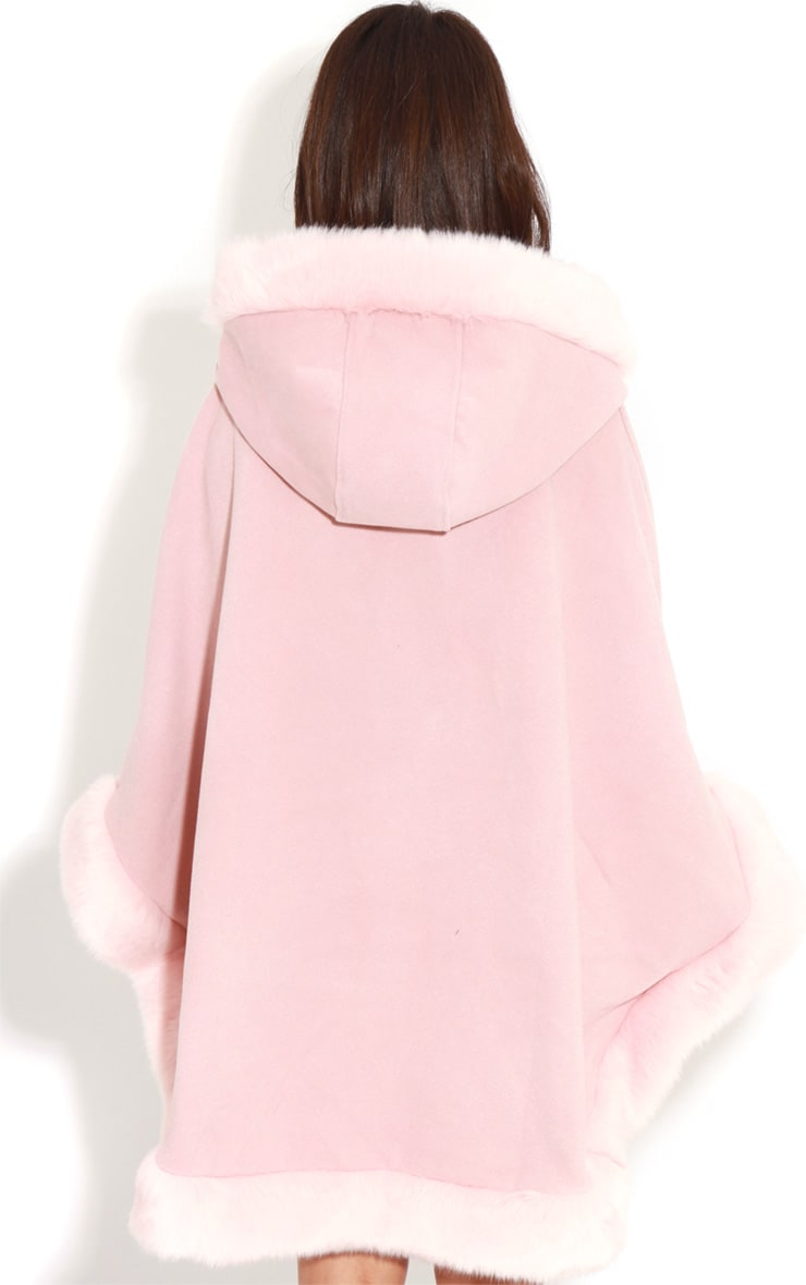 Mada Pink Hooded Faux Fur Cape 2