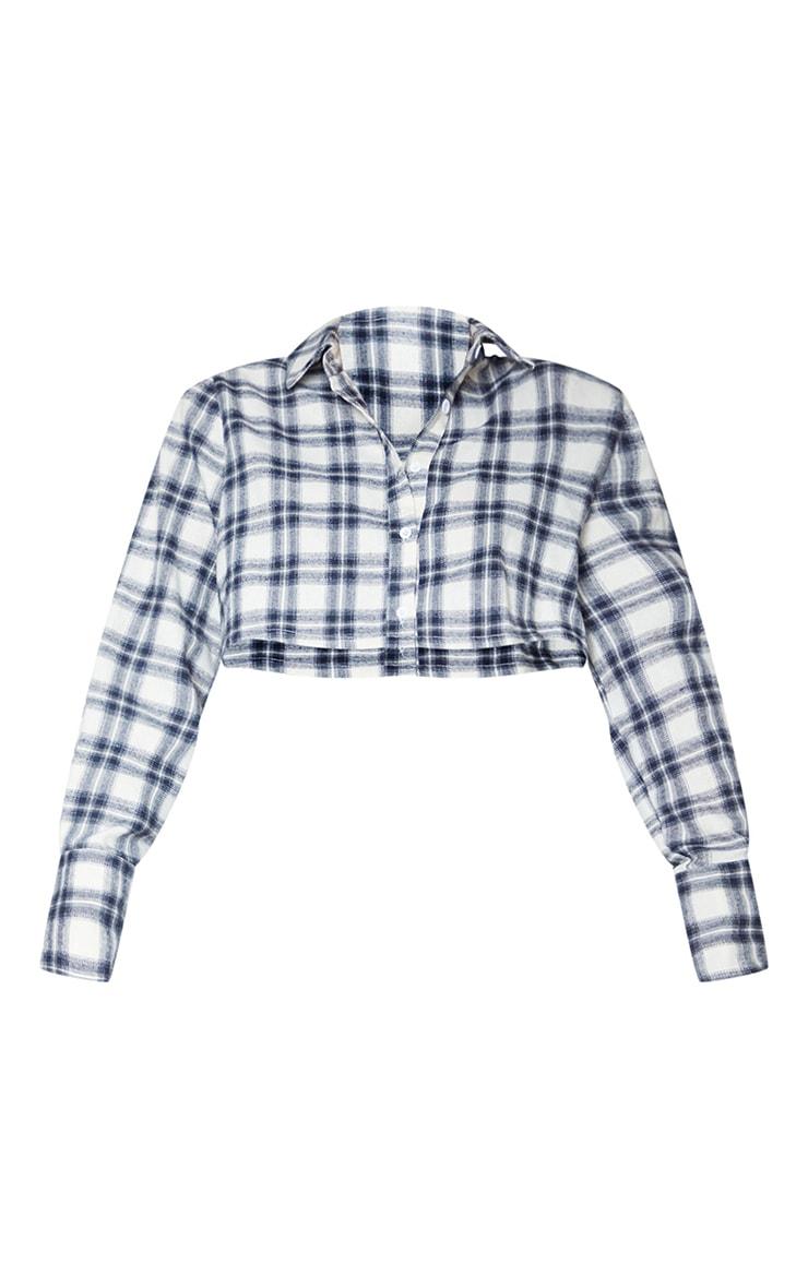 White Flannel Check Crop Shirt 5