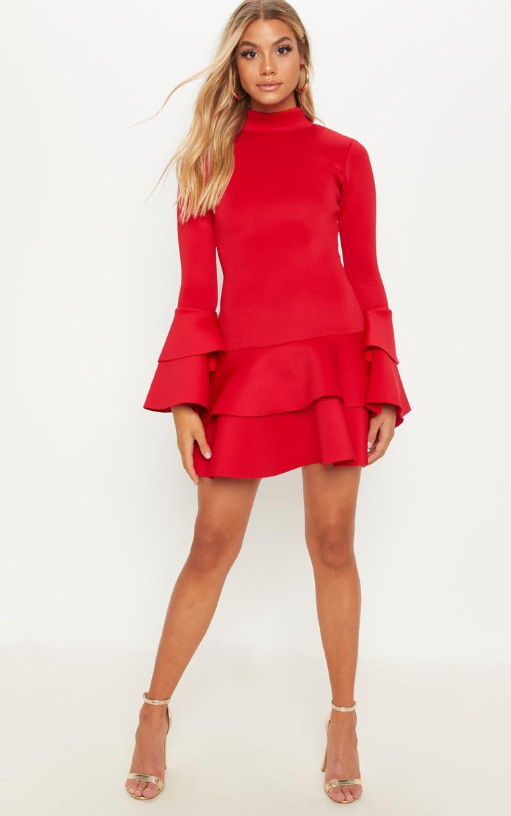 Red Bonded Scuba Ruffle Sleeve Bodycon Dress 4