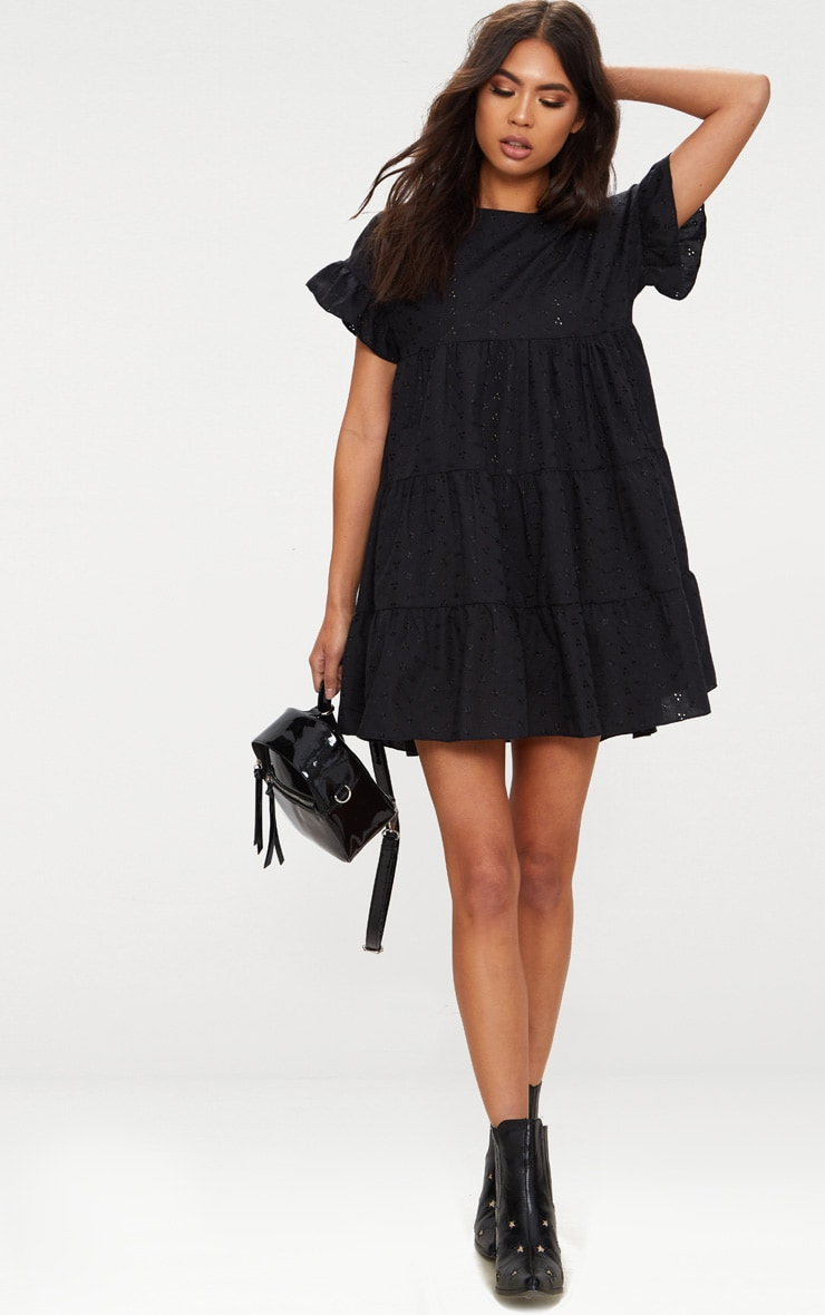 Black Broderie Anglaise Smock Dress 1