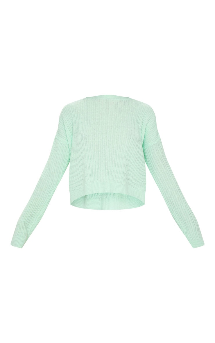 Mint Narrow Cable Knitted Crop Jumper 6