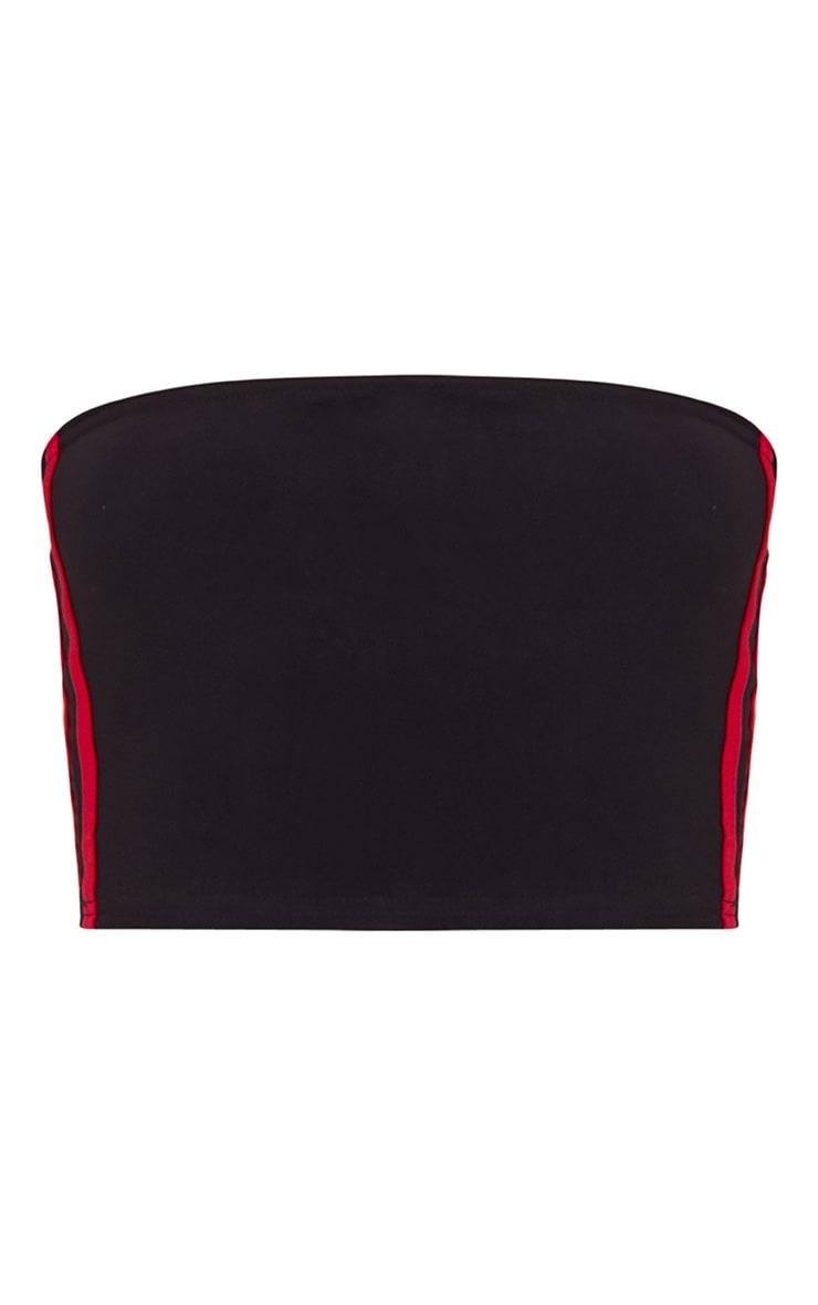 Black Slinky Sporty Stripe Bandeau Crop Top 3