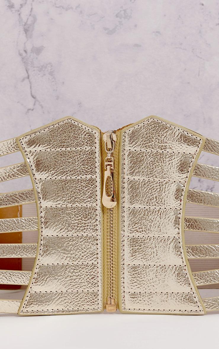 Nikola Gold Zip Detail Corset Style Belt   5