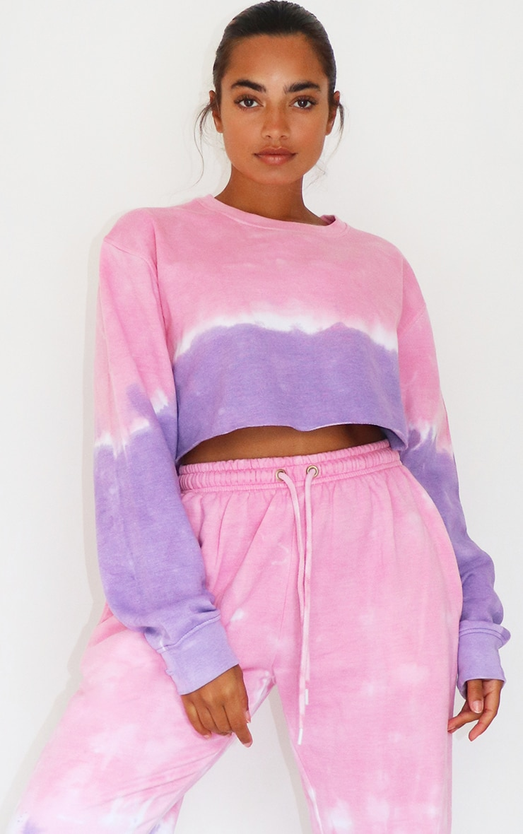 Petite Pink/Purple Ombre Cropped Sweater 1