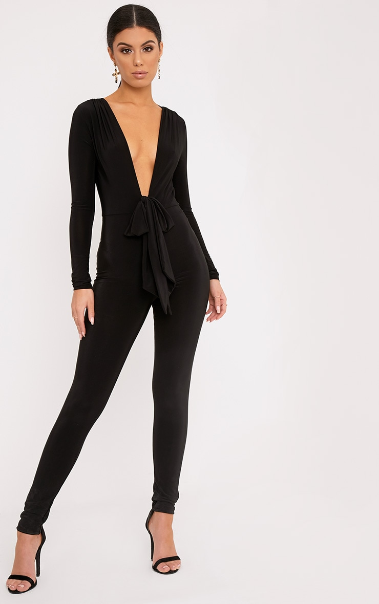 Alessia Black Slinky Knot Front Jumpsuit  1