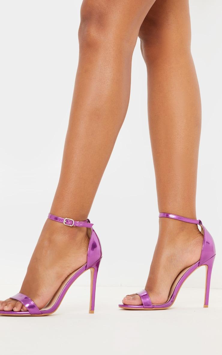 Purple Metallic Clover Heeled Sandals 2