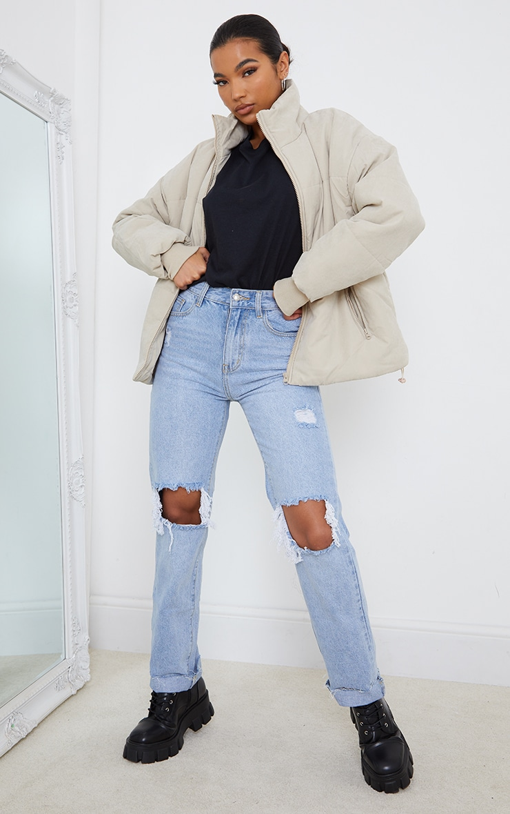 Stone Oversized Peach Skin Cuff Puffer Jacket 3