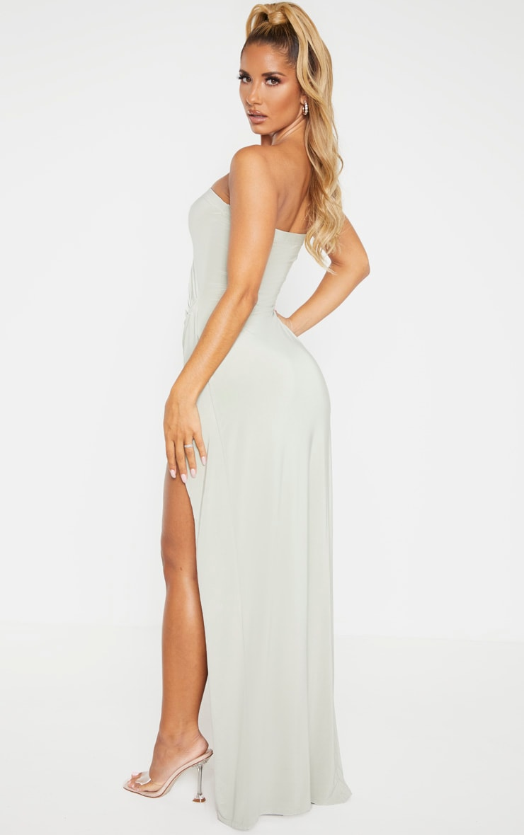 Sage Green Bandeau High Slit Maxi Dress 2