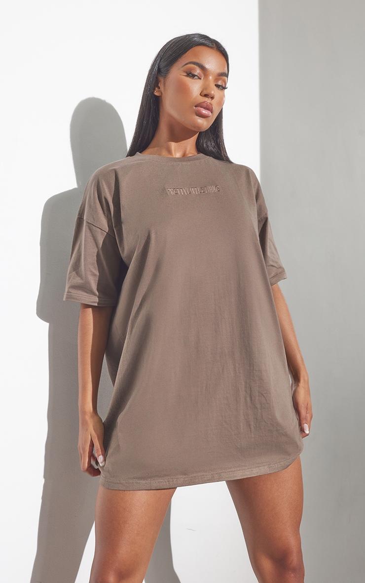 RENEW PRETTYLITTLETHING Light Chocolate Oversized Boyfriend T Shirt Dress 1