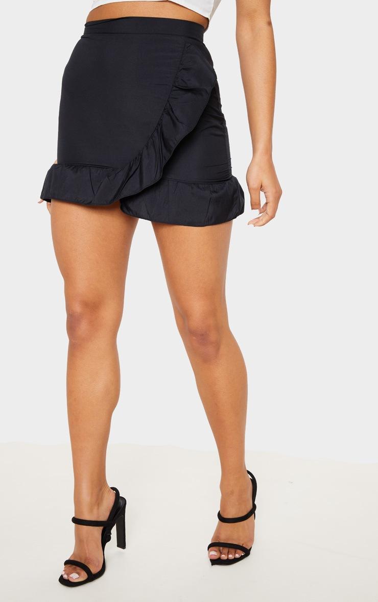 Black Frill Hem Wrap Mini Skirt  2