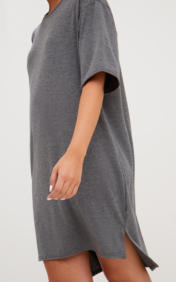 Charcoal Jersey Stepped Hem T Shirt Dress 5