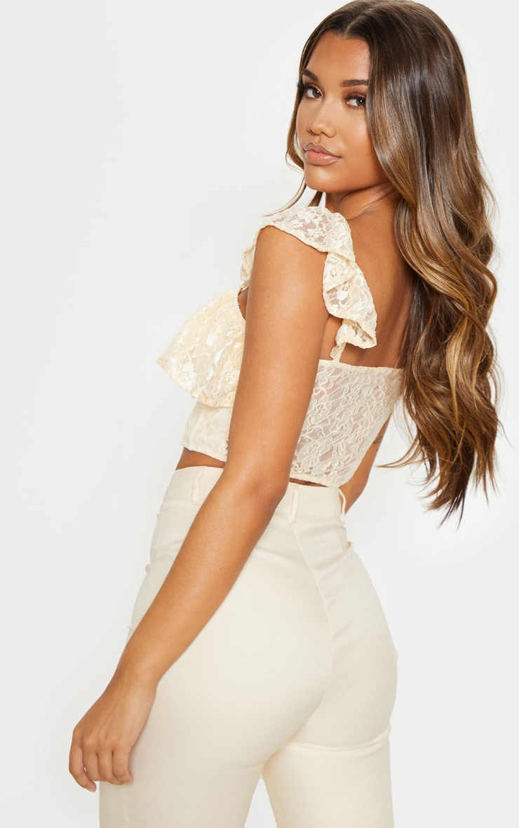 Cream Lace Hook and Eye Frill Strap Crop Top 2
