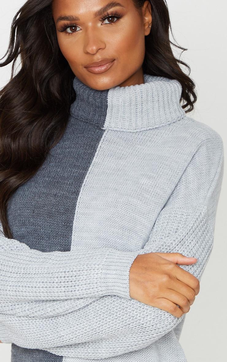 Grey Colour Block Roll Neck Sweater Dress 5