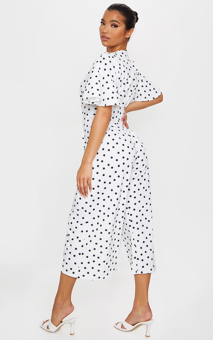 White Polka Dot Pleated Waist Plunge Culotte Jumpsuit 2