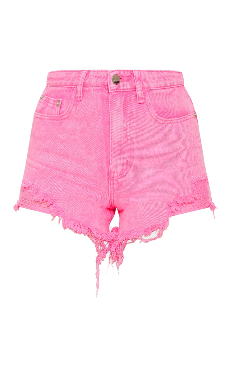 Neon Pink Distressed Mom Shorts 3