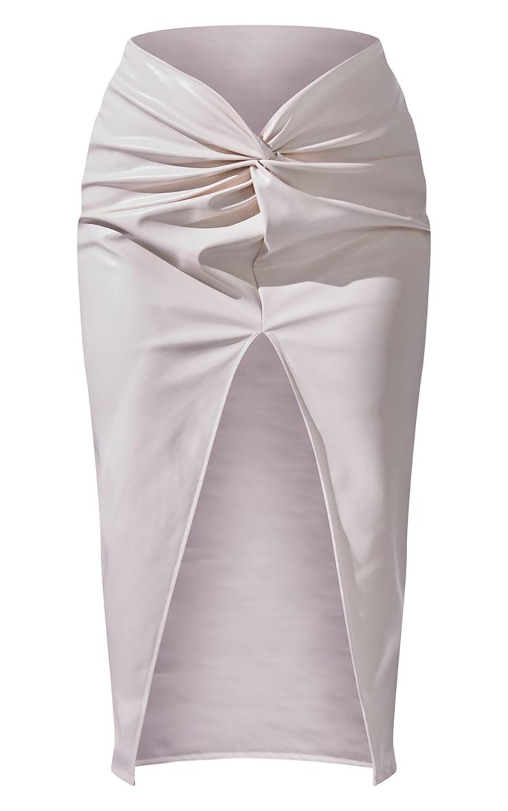 Cream Faux Leather Twist Front Midi Skirt 5