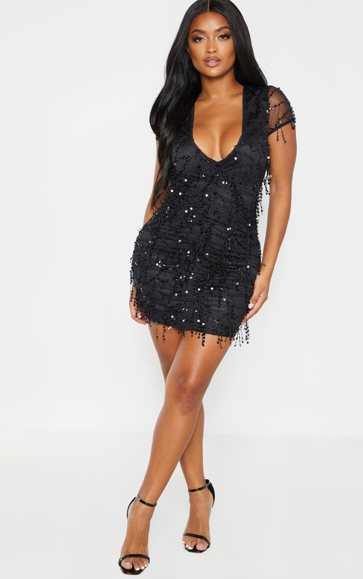 Shape Black Sequin Ruched Bodycon Dress 4