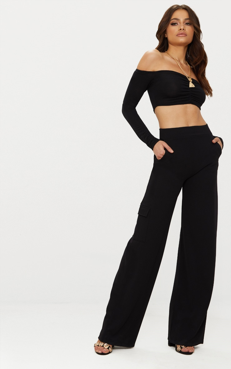 Black Crepe Wide Leg Pocket Trouser 1