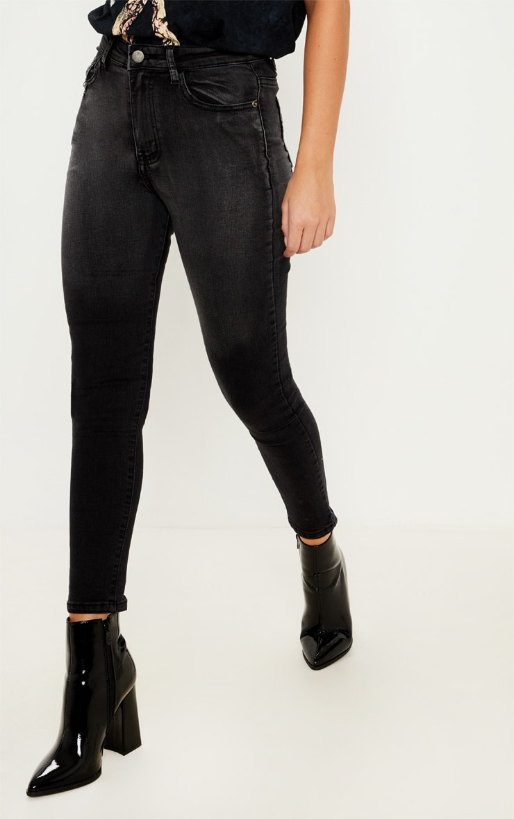 Charcoal Grey Zip Back Skinny Jean  4