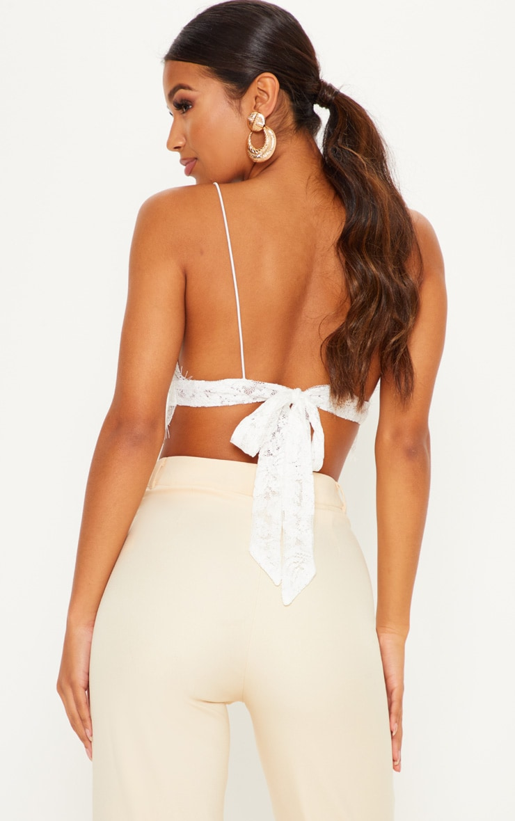Amelie White Tie Back Lace Bralet 2
